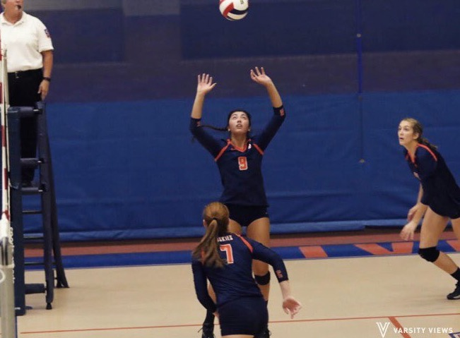 Senior Jordan Mrkvicka sets the ball