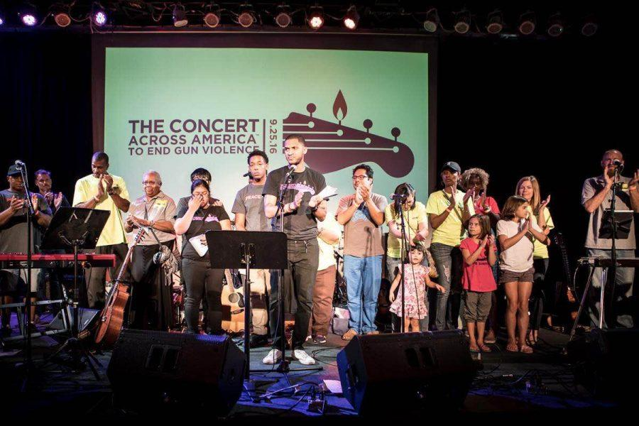 OPRF teacher Anthony Clark performs at The Concert Across America to End Gun Violence