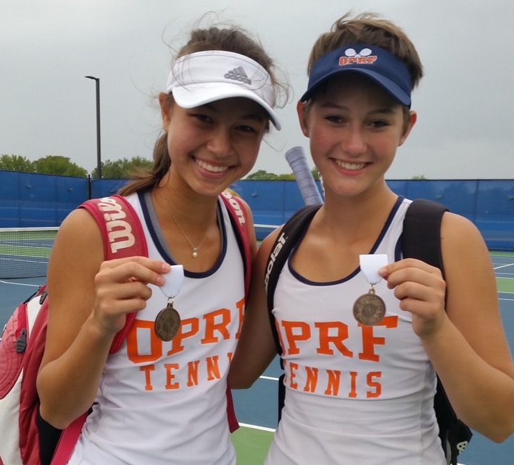 Kreider and and her doubles partner Jamroz after a tournament.