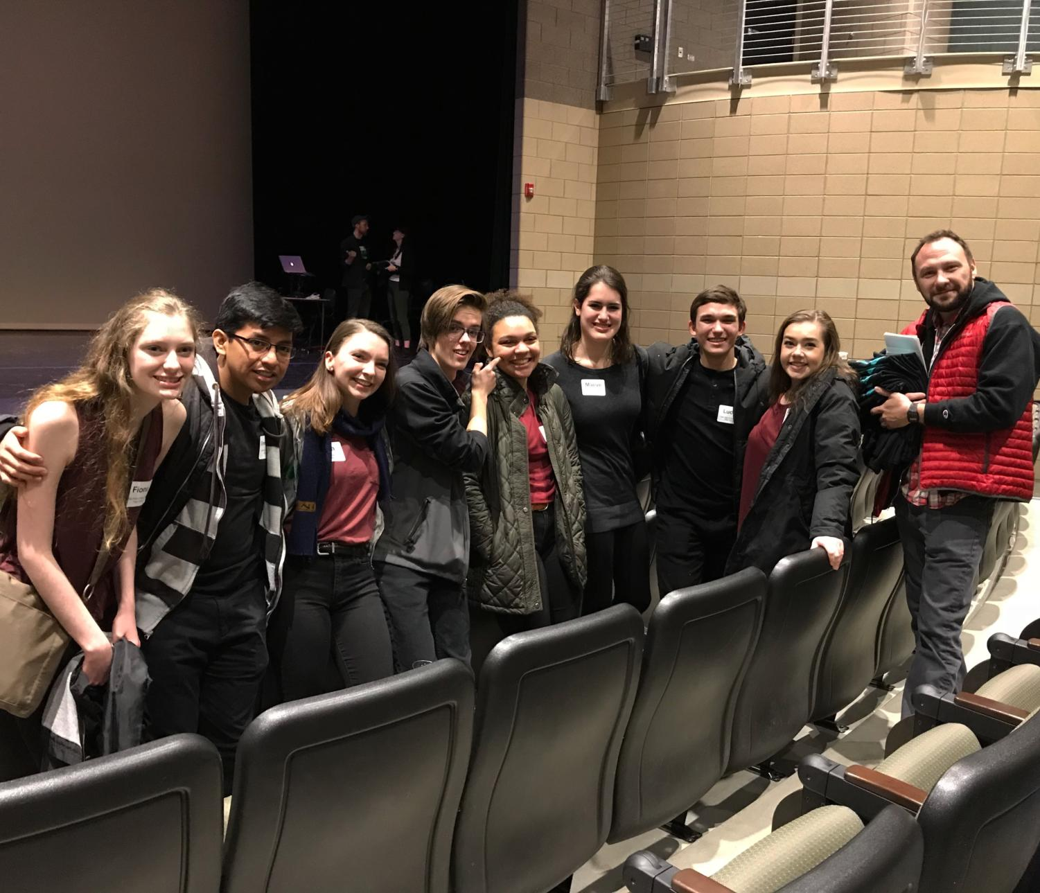 Shakespeare Performance Competition Club members and James Bell pose together at Shakespeare Slam