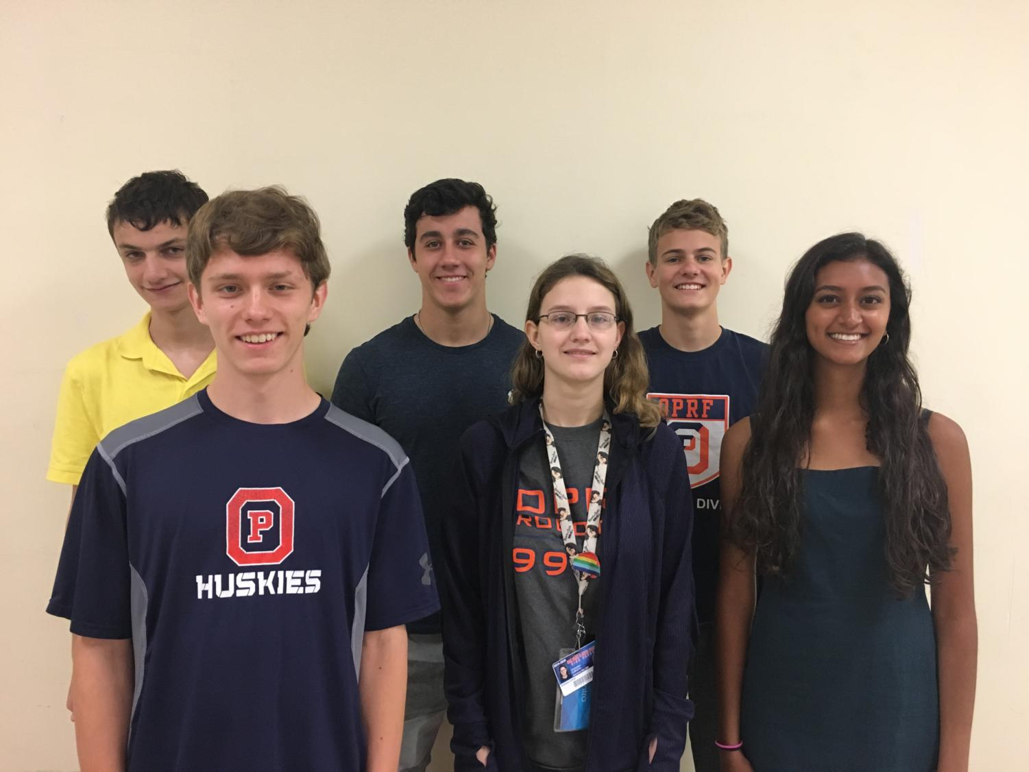 From left to right: Finn Greenstone, Garret Credi, William Farren, Marina Atkin, Daniel Roberts, and Priya Rawal