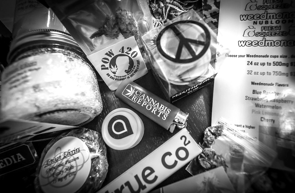 An assortment of cannabis products from the Cannabis Cup 2016, a festival in Southern California.