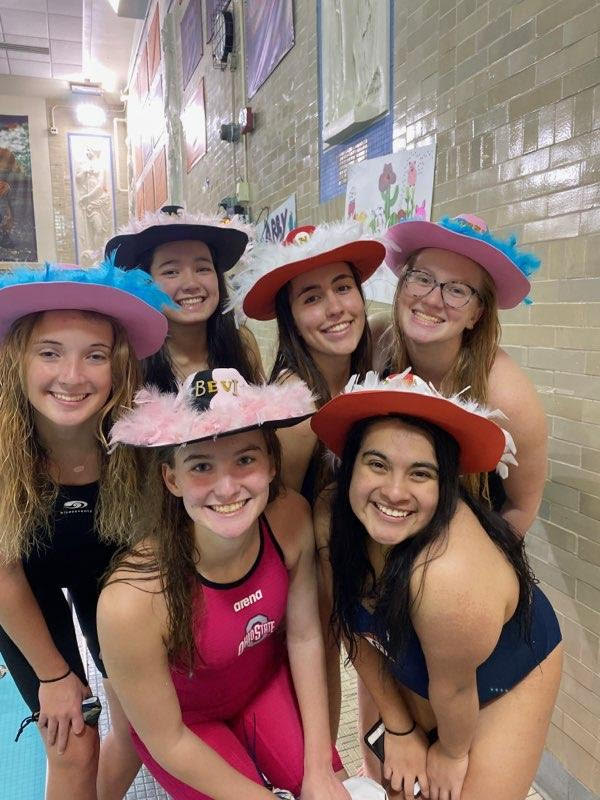 Senior Night Swim Meet  Top row: (left to right) Abby Gibbs, Jasmine Wood, Ana Nikolic, Annabel Richert  Bottom row: (left to right) Bevi Lundeen, Emma Benno