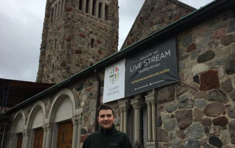 Hassler outside of his church