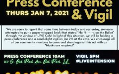 A poster shared on social media publicizing the press conference and candlelight vigil