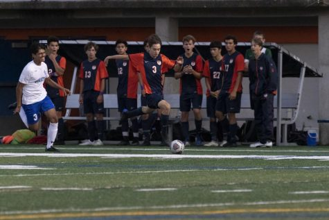 The OPRF Varsity Boys Soccer team playing during their last season, in September of 2019